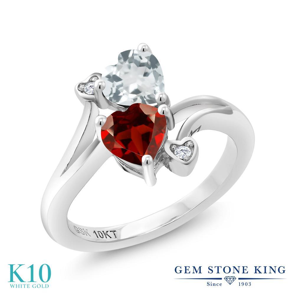 Gem Stone King 1.02カラット 天然 アクアマリン 天然 ガーネット 天然 ダイヤモンド 10金 ホワイトゴールド(K10) 指輪 リング レディース 小粒 ダブルストーン 天然石 3月 誕生石 金属アレルギー対応 誕生日プレゼント