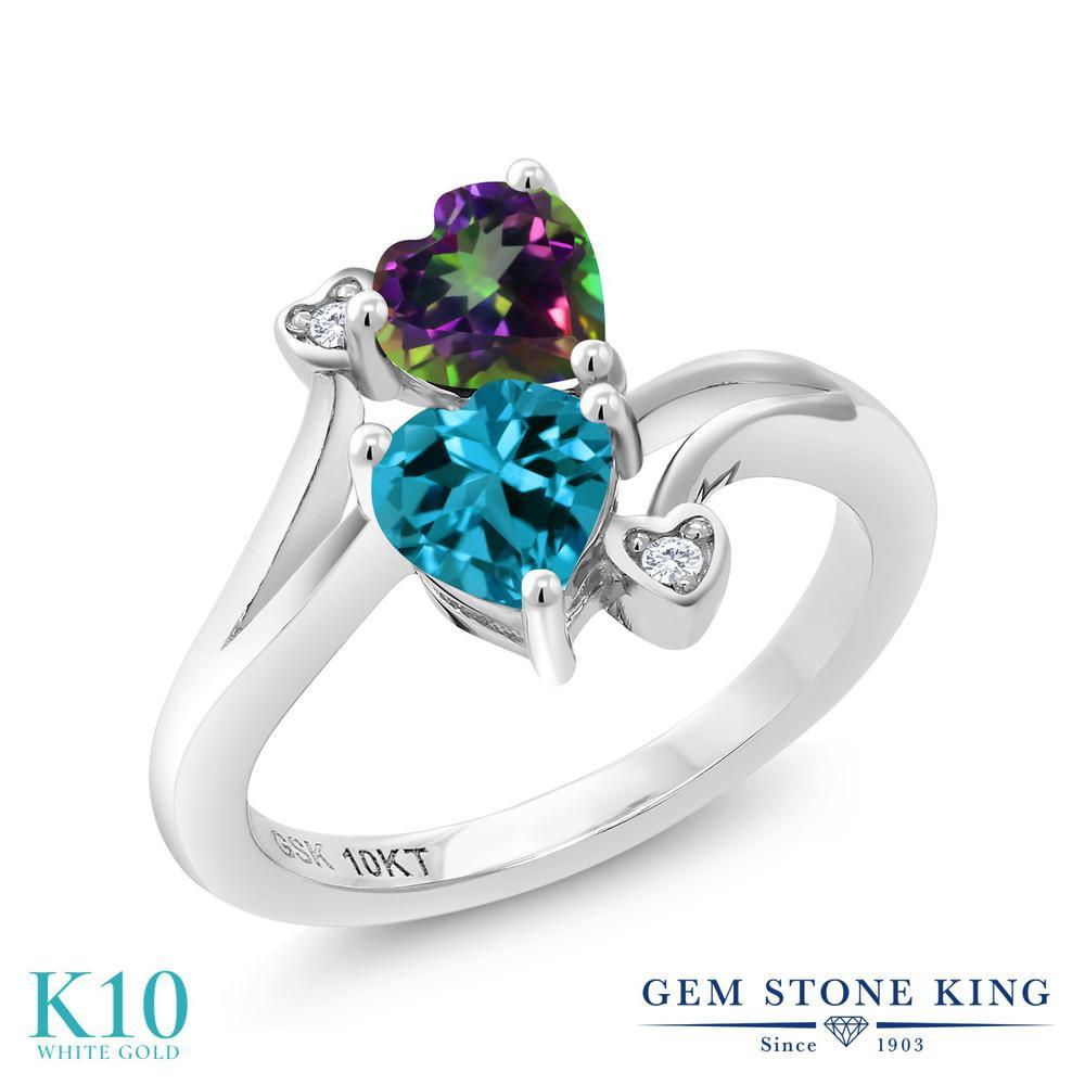 Gem Stone King 1.16カラット 天然石 ミスティックトパーズ (グリーン) 天然 ロンドンブルートパーズ 天然 ダイヤモンド 10金 ホワイトゴールド(K10) 指輪 リング レディース ダブルストーン 天然石 金属アレルギー対応 誕生日プレゼント