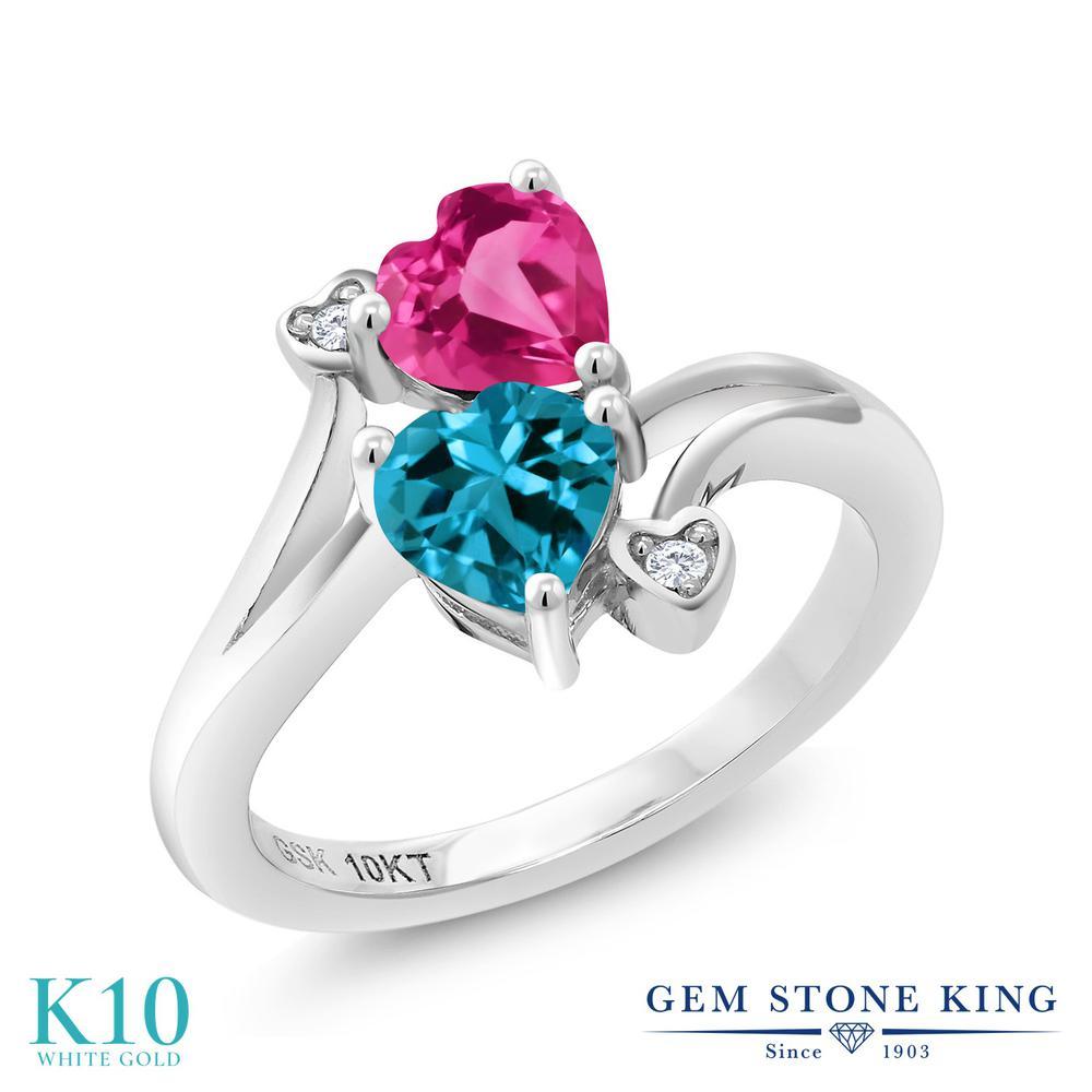 Gem Stone King 1.16カラット 合成ピンクサファイア 天然 ロンドンブルートパーズ 天然 ダイヤモンド 10金 ホワイトゴールド(K10) 指輪 リング レディース ダブルストーン 金属アレルギー対応 誕生日プレゼント