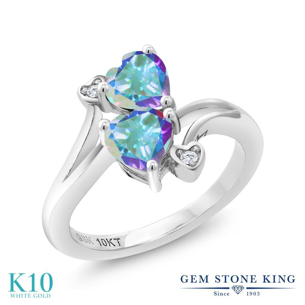 Gem Stone King 1.13カラット 天然石 ミスティックトパーズ (マーキュリーミスト) 天然 ダイヤモンド 10金 ホワイトゴールド(K10) 指輪 リング レディース ダブルストーン 天然石 金属アレルギー対応 誕生日プレゼント