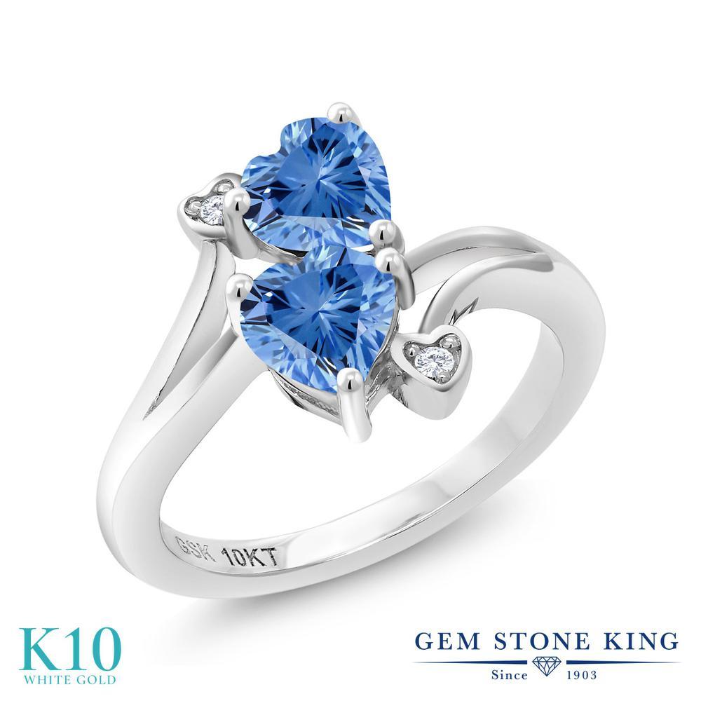 Gem Stone King 0.89カラット スワロフスキージルコニア (ファンシーブルー) 天然 ダイヤモンド 10金 ホワイトゴールド(K10) 指輪 リング レディース CZ 小粒 ダブルストーン 金属アレルギー対応 誕生日プレゼント