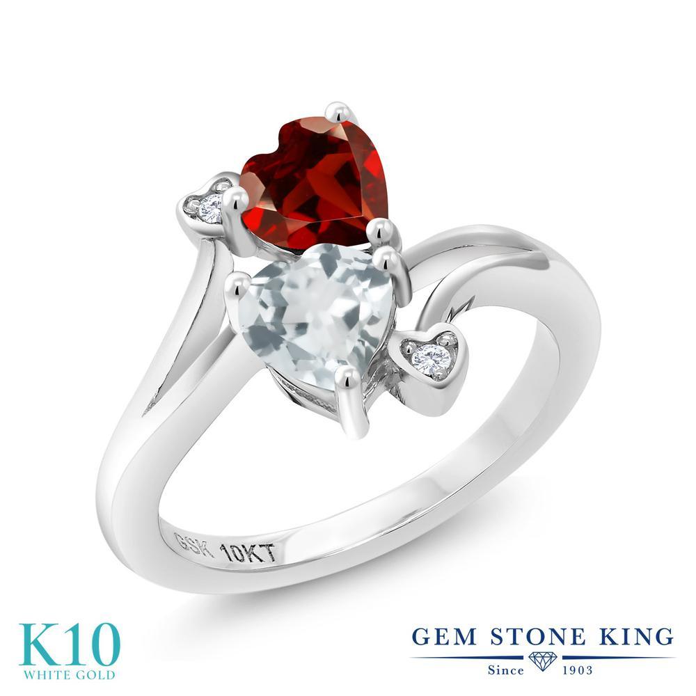 Gem Stone King 1.02カラット 天然 ガーネット 天然 アクアマリン 天然 ダイヤモンド 10金 ホワイトゴールド(K10) 指輪 リング レディース ダブルストーン 天然石 1月 誕生石 金属アレルギー対応 誕生日プレゼント