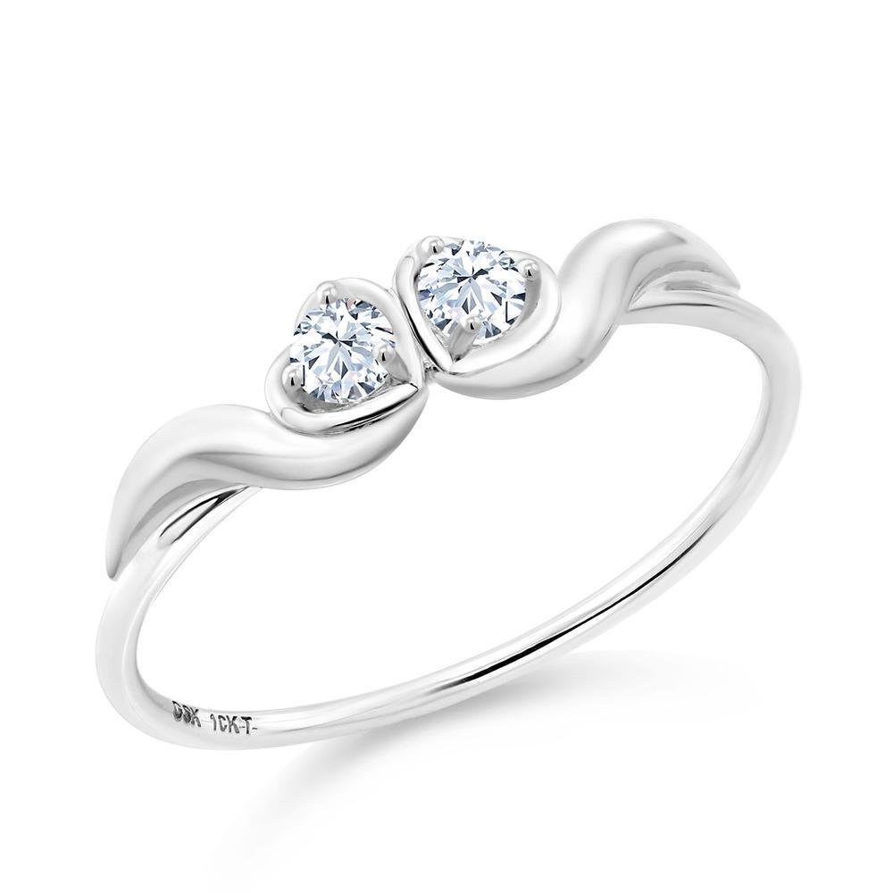 0.1カラット 合成ホワイトサファイア (ダイヤのような無色透明) 10金 ホワイトゴールド(K10) 指輪 レディース リング 小粒 シンプル ダブルストーン 金属アレルギー対応 誕生日プレゼント