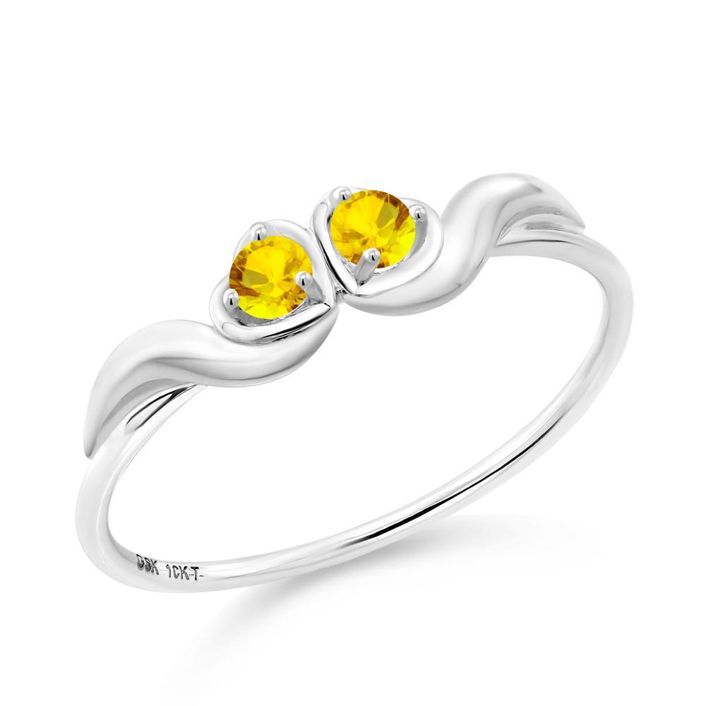 0.1カラット イエローサファイア 10金 ホワイトゴールド(K10) 指輪 レディース リング 小粒 シンプル ダブルストーン 9月 誕生石 金属アレルギー対応 誕生日プレゼント