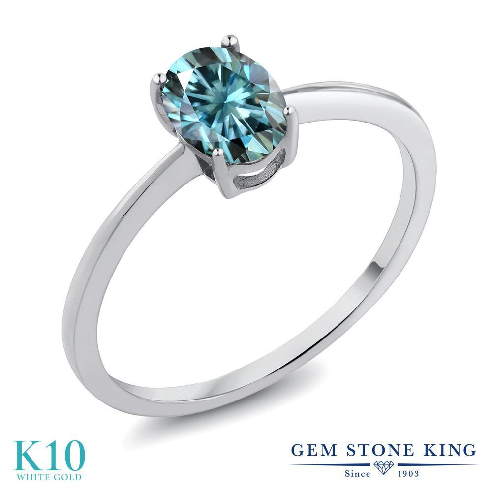 Gem Stone King 0.9カラット ブルー モアサナイト Charles & Colvard 10金 ホワイトゴールド(K10) 指輪 リング レディース モアッサナイト 一粒 シンプル ソリティア 金属アレルギー対応 誕生日プレゼント