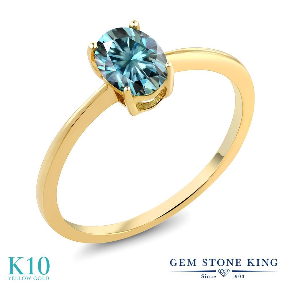 Gem Stone King 0.9カラット ブルー モアサナイト Charles & Colvard 10金 イエローゴールド(K10) 指輪 リング レディース モアッサナイト 一粒 シンプル ソリティア 金属アレルギー対応 誕生日プレゼント