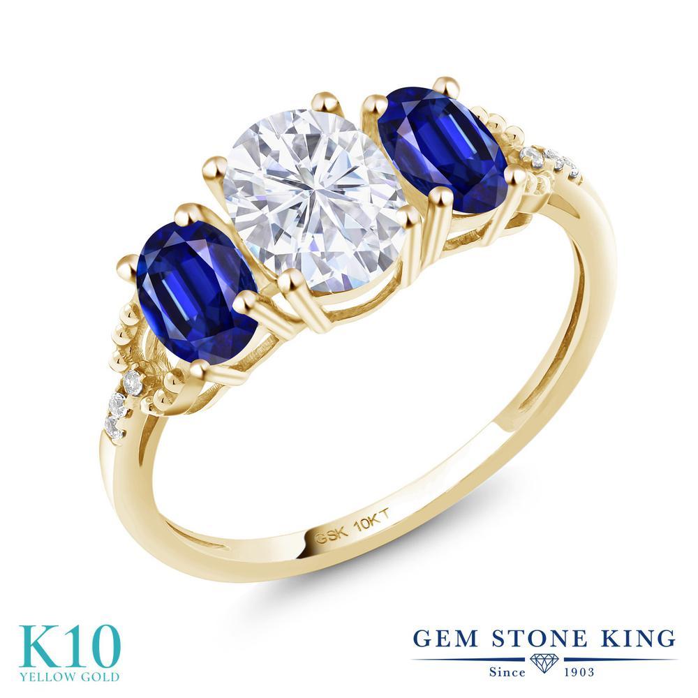 Gem Stone King 10金 2.12カラット Forever Brilliant モアッサナイト モアッサナイト Charles & King Colvard 天然 カイヤナイト (ブルー) 天然 ダイヤモンド 10金 イエローゴールド(K10) 指輪 リング レディース モアサナイト スリーストーン 金属アレルギー対応 誕生日プレゼント, ワイコム:e3936b15 --- ww.thecollagist.com