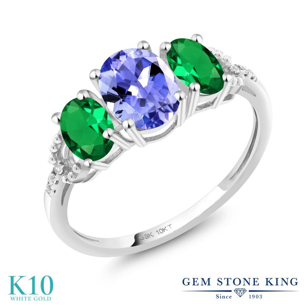 Gem Stone King 1.57カラット 天然石 タンザナイト ナノエメラルド 天然 ダイヤモンド 10金 ホワイトゴールド(K10) 指輪 リング レディース スリーストーン 天然石 12月 誕生石 金属アレルギー対応 誕生日プレゼント