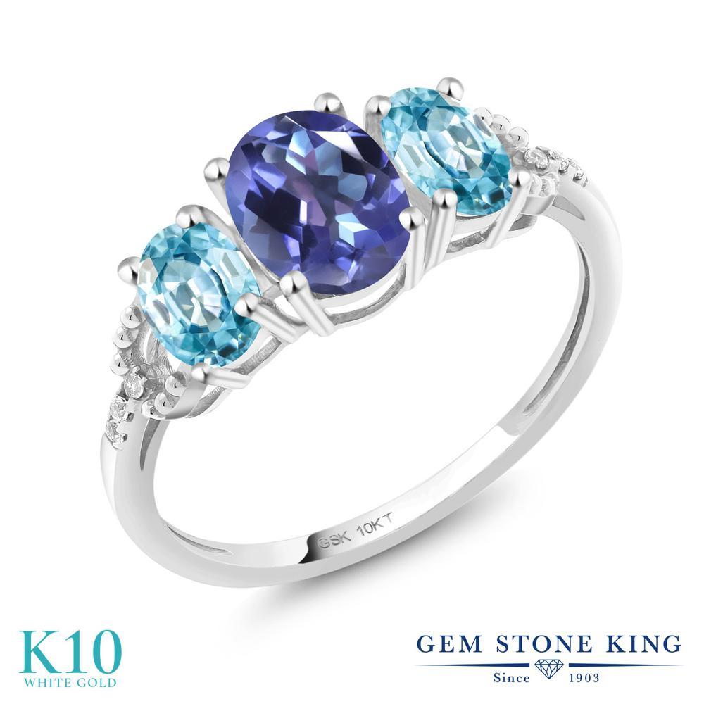 Gem Stone King 2.82カラット 天然 ミスティックトパーズ (タンザナイトブルー) 天然石 ブルージルコン 天然 ダイヤモンド 10金 ホワイトゴールド(K10) 指輪 リング レディース 大粒 スリーストーン 天然石 金属アレルギー対応 誕生日プレゼント