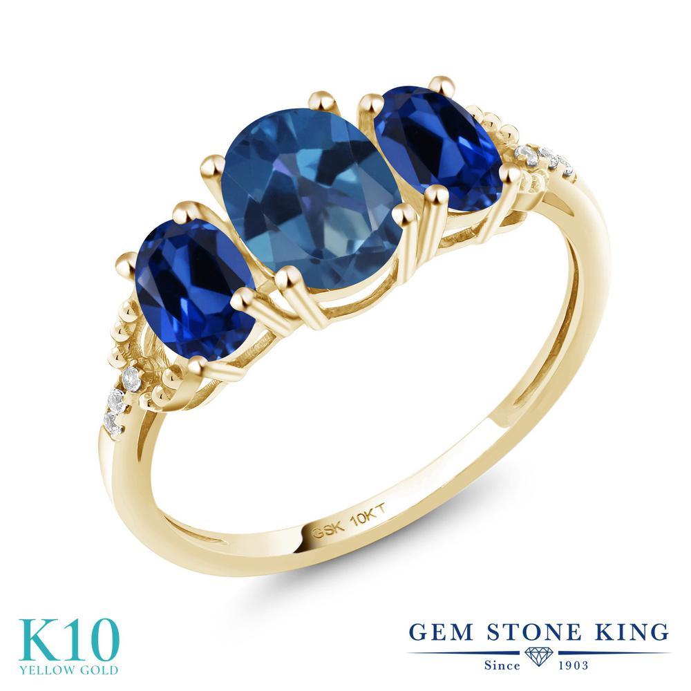 2.02カラット 天然 ミスティックトパーズ (サファイアブルー) 指輪 レディース リング 合成サファイア ダイヤモンド 10金 イエローゴールド K10 ブランド おしゃれ 3連 青 スリーストーン 天然石 婚約指輪 エンゲージリング