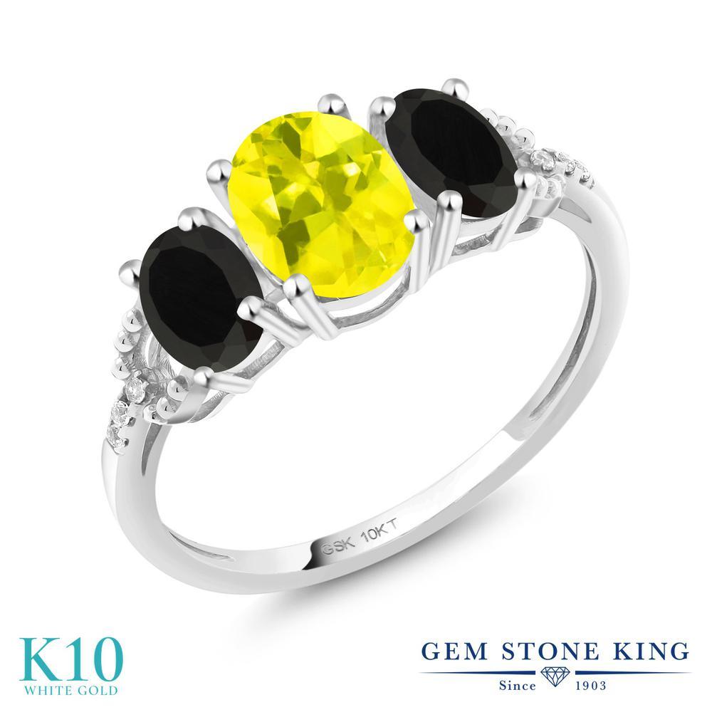 1.62カラット 天然石 ミスティックトパーズ (イエロー) 指輪 レディース リング 天然 オニキス ダイヤモンド 10金 ホワイトゴールド K10 ブランド おしゃれ 3連 スリーストーン 婚約指輪 エンゲージリング