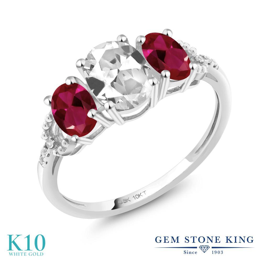 Gem Stone King 3.02カラット 合成ホワイトサファイア (ダイヤのような無色透明) 合成ルビー 天然 ダイヤモンド 10金 ホワイトゴールド(K10) 指輪 リング レディース 大粒 スリーストーン 金属アレルギー対応 誕生日プレゼント