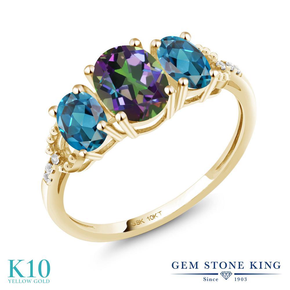 2.22カラット 天然石 ミスティックトパーズ (グリーン) 指輪 レディース リング 天然 ロンドンブルートパーズ ダイヤモンド 10金 イエローゴールド K10 ブランド おしゃれ 3連 緑 大粒 スリーストーン 婚約指輪 エンゲージリング