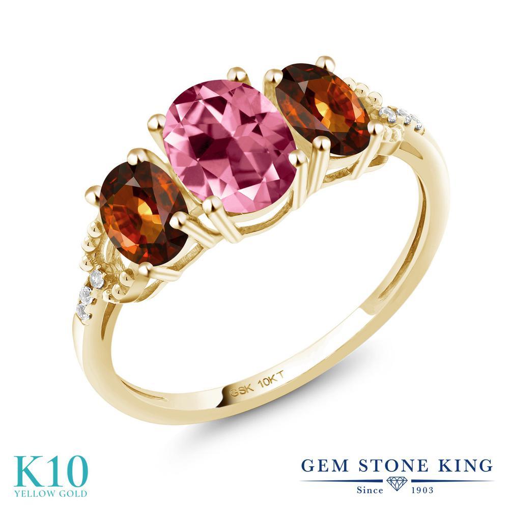 2.67カラット 天然石 ピンクトパーズ (スワロフスキー 天然石) 指輪 レディース リング ジルコン (ブラウン) 天然 ダイヤモンド 10金 イエローゴールド K10 ブランド おしゃれ 3連 大粒 スリーストーン 婚約指輪 エンゲージリング