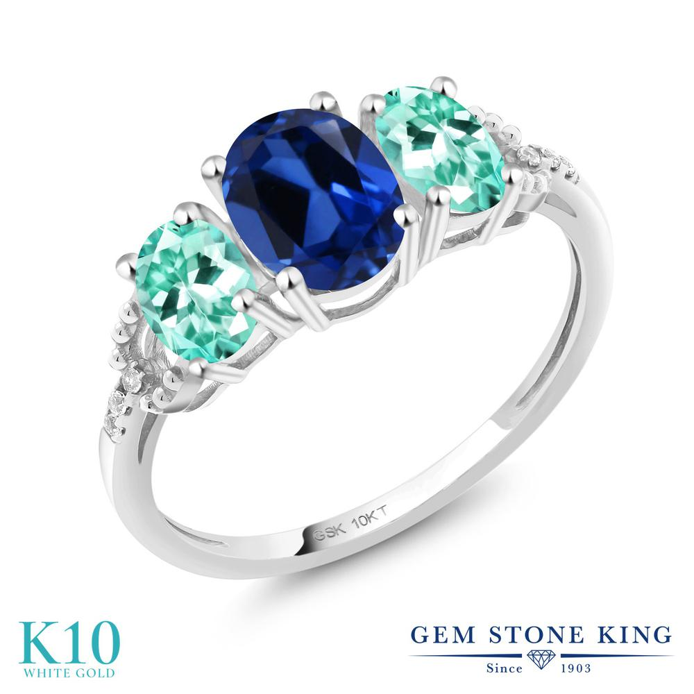 Gem Stone King 2.07カラット シミュレイテッド サファイア 天然 アパタイト 天然 ダイヤモンド 10金 ホワイトゴールド(K10) 指輪 リング レディース 大粒 スリーストーン 金属アレルギー対応 誕生日プレゼント