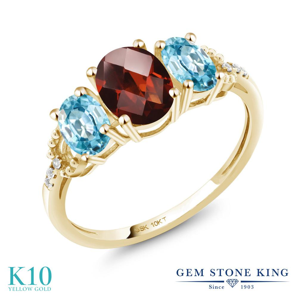 2.32カラット 天然 ガーネット 指輪 レディース リング 天然石 ブルージルコン ダイヤモンド 10金 イエローゴールド K10 ブランド おしゃれ 3連 赤 大粒 スリーストーン 1月 誕生石 婚約指輪 エンゲージリング