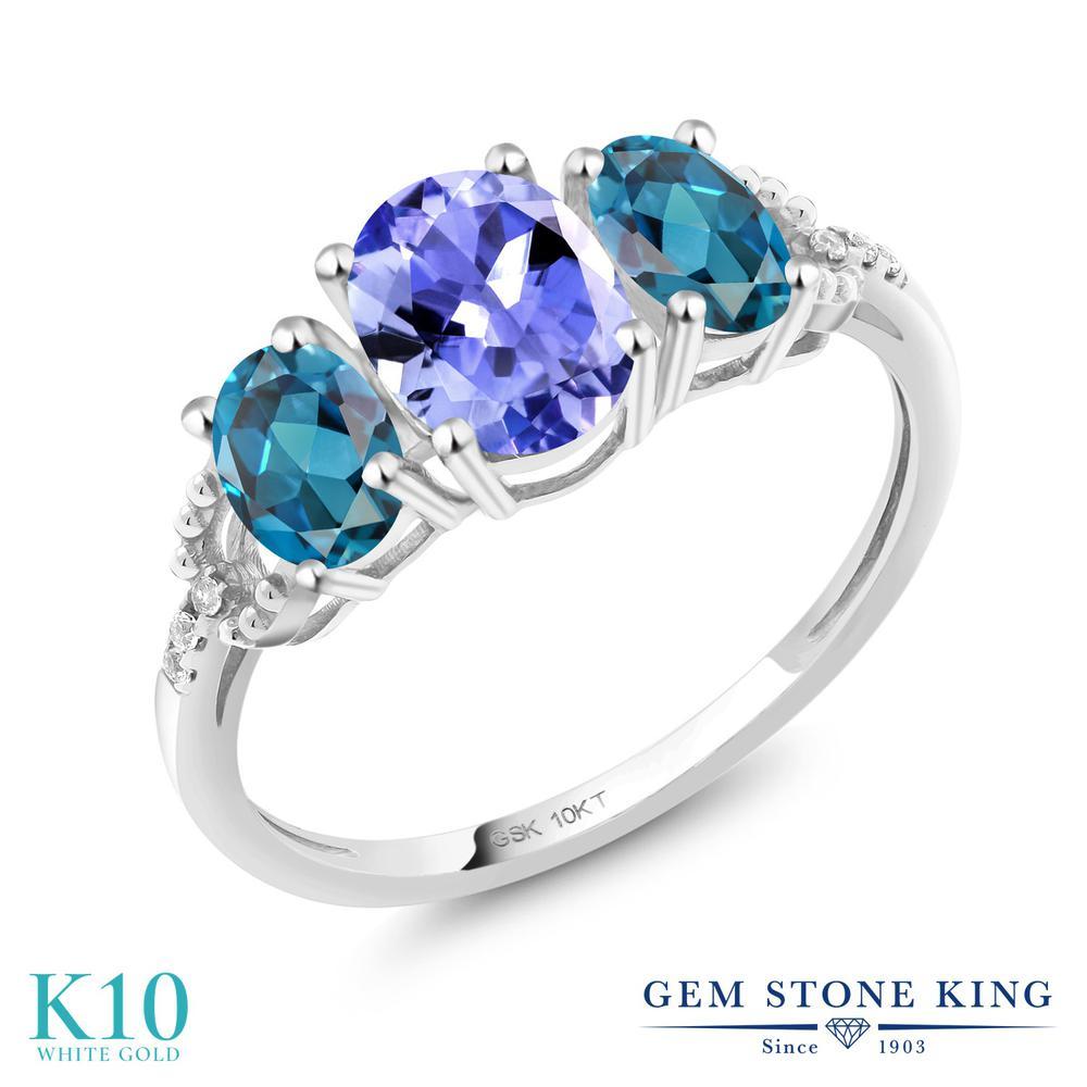 Gem Stone King 1.97カラット 天然石 タンザナイト 天然 ロンドンブルートパーズ 天然 ダイヤモンド 10金 ホワイトゴールド(K10) 指輪 リング レディース スリーストーン 天然石 12月 誕生石 金属アレルギー対応 誕生日プレゼント