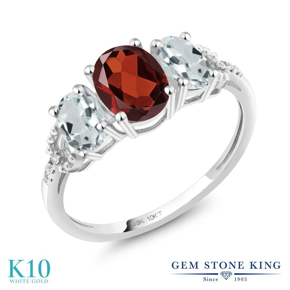Gem Stone King 1.89カラット 天然 ガーネット 天然 アクアマリン 天然 ダイヤモンド 10金 ホワイトゴールド(K10) 指輪 リング レディース スリーストーン 天然石 1月 誕生石 金属アレルギー対応 誕生日プレゼント