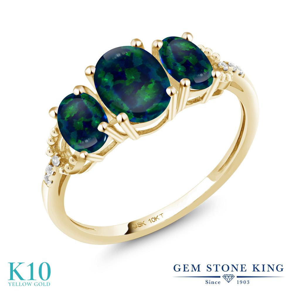 1.65カラット シミュレイテッド グリーンオパール 指輪 レディース リング 天然 ダイヤモンド 10金 イエローゴールド K10 ブランド おしゃれ 3連 緑 スリーストーン 10月 誕生石 婚約指輪 エンゲージリング