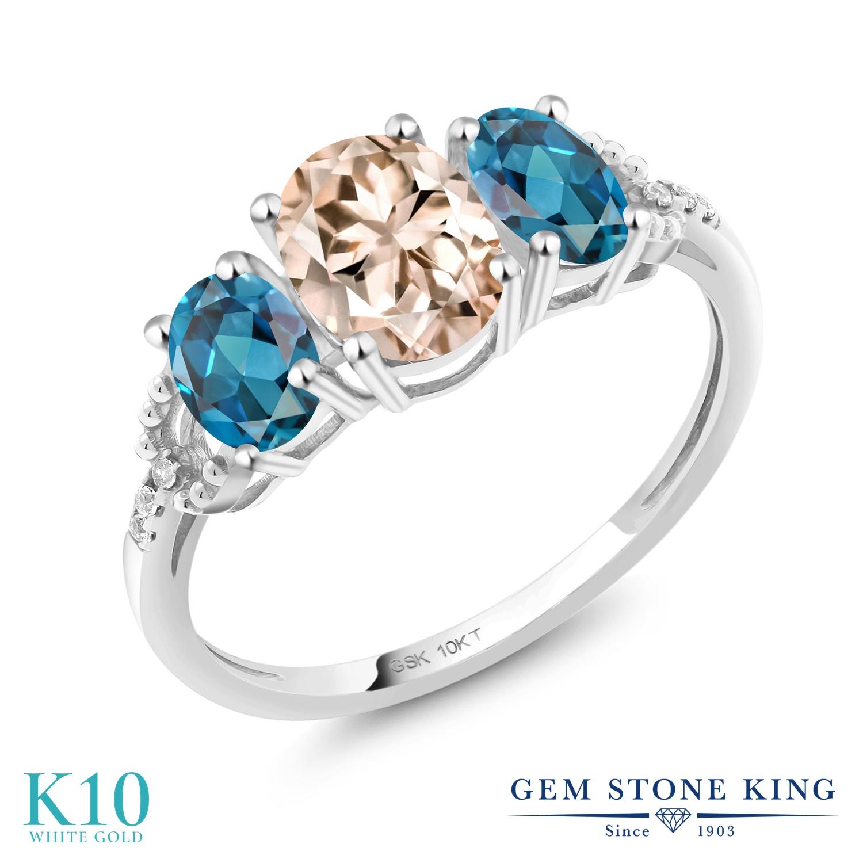 Gem Stone King 1.87カラット 天然 モルガナイト (ピーチ) 天然 ロンドンブルートパーズ 天然 ダイヤモンド 10金 ホワイトゴールド(K10) 指輪 リング レディース スリーストーン 天然石 3月 誕生石 金属アレルギー対応 誕生日プレゼント
