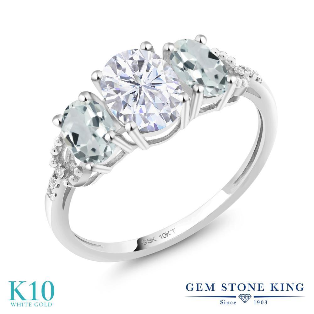 Gem リング Stone King 1.92カラット Gem Forever レディース Brilliant モアッサナイト Charles & Colvard 天然 アクアマリン 天然 ダイヤモンド 10金 ホワイトゴールド(K10) 指輪 リング レディース モアサナイト スリーストーン 金属アレルギー対応 誕生日プレゼント, デザイナーズ家具専門店-PERKS:75956195 --- ww.thecollagist.com