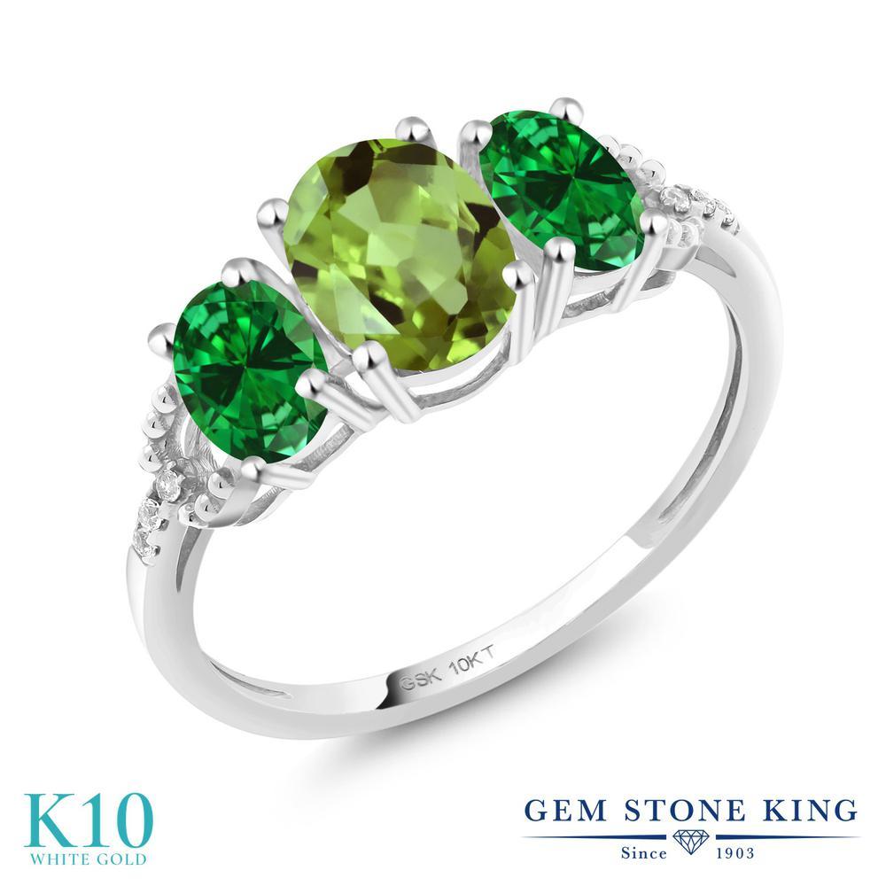 1.62カラット 天然石 ペリドット 指輪 レディース リング ナノエメラルド 天然 ダイヤモンド 10金 ホワイトゴールド K10 ブランド おしゃれ 3連 緑 スリーストーン 8月 誕生石 婚約指輪 エンゲージリング