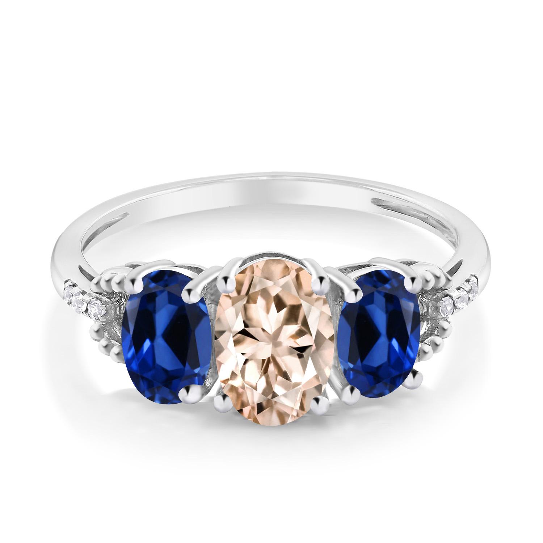 1 87カラット 天然 モルガナイトピーチ指輪 レディース リング 合成サファイア ダイヤモンド 10金 ホワイトゴールド K10 ブランド おしゃれ 3連 スリーストーン 天然石 3月 誕生石 婚約指輪 エンゲージリングZuOkTXiP