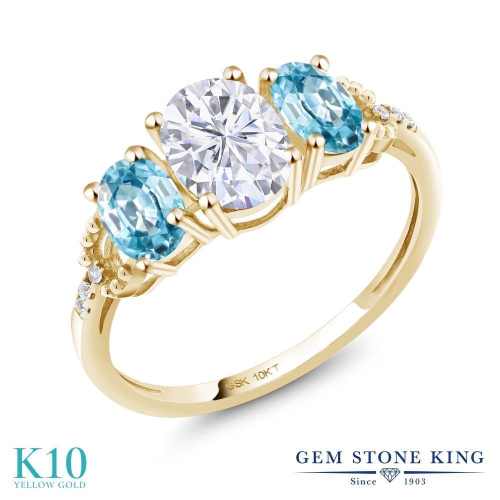 Gem Stone King 2.22カラット Forever 2.22カラット レディース Brilliant モアッサナイト スリーストーン Charles & Colvard 天然石 ブルージルコン 天然 ダイヤモンド 10金 イエローゴールド(K10) 指輪 リング レディース モアサナイト スリーストーン 金属アレルギー対応 誕生日プレゼント, スキー用品通販 WEBSPORTS:ea3f077b --- ww.thecollagist.com