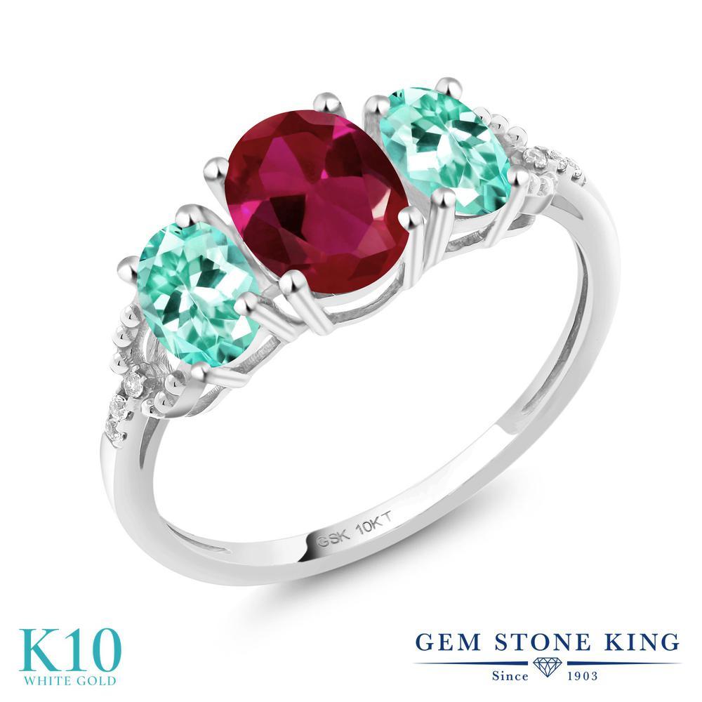 Gem Stone King 2.07カラット 合成ルビー 天然 アパタイト 天然 ダイヤモンド 10金 ホワイトゴールド(K10) 指輪 リング レディース 大粒 スリーストーン 金属アレルギー対応 誕生日プレゼント