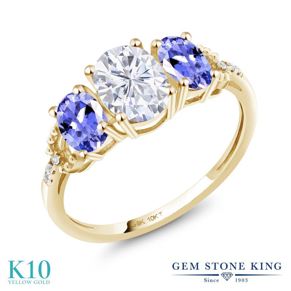 1.82カラット Forever Brilliant モアサナイト Charles & Colvard 指輪 レディース リング 天然石 タンザナイト 天然 ダイヤモンド 10金 イエローゴールド K10 ブランド おしゃれ 3連 モアッサナイト スリーストーン 婚約指輪 エンゲージリング