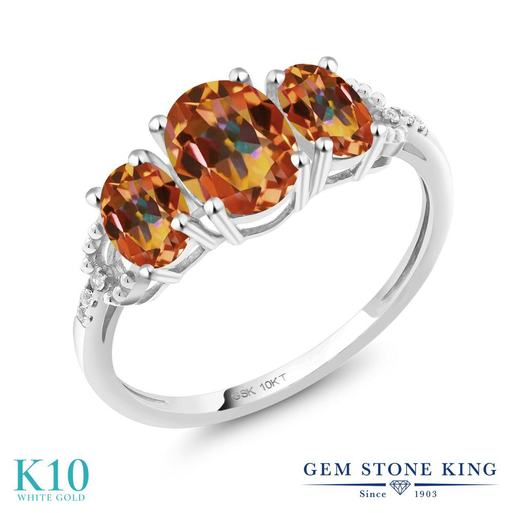 2.02カラット 天然石 エクスタシーミスティックトパーズ 指輪 レディース リング 天然 ダイヤモンド 10金 ホワイトゴールド K10 ブランド おしゃれ 3連 大粒 スリーストーン 婚約指輪 エンゲージリング