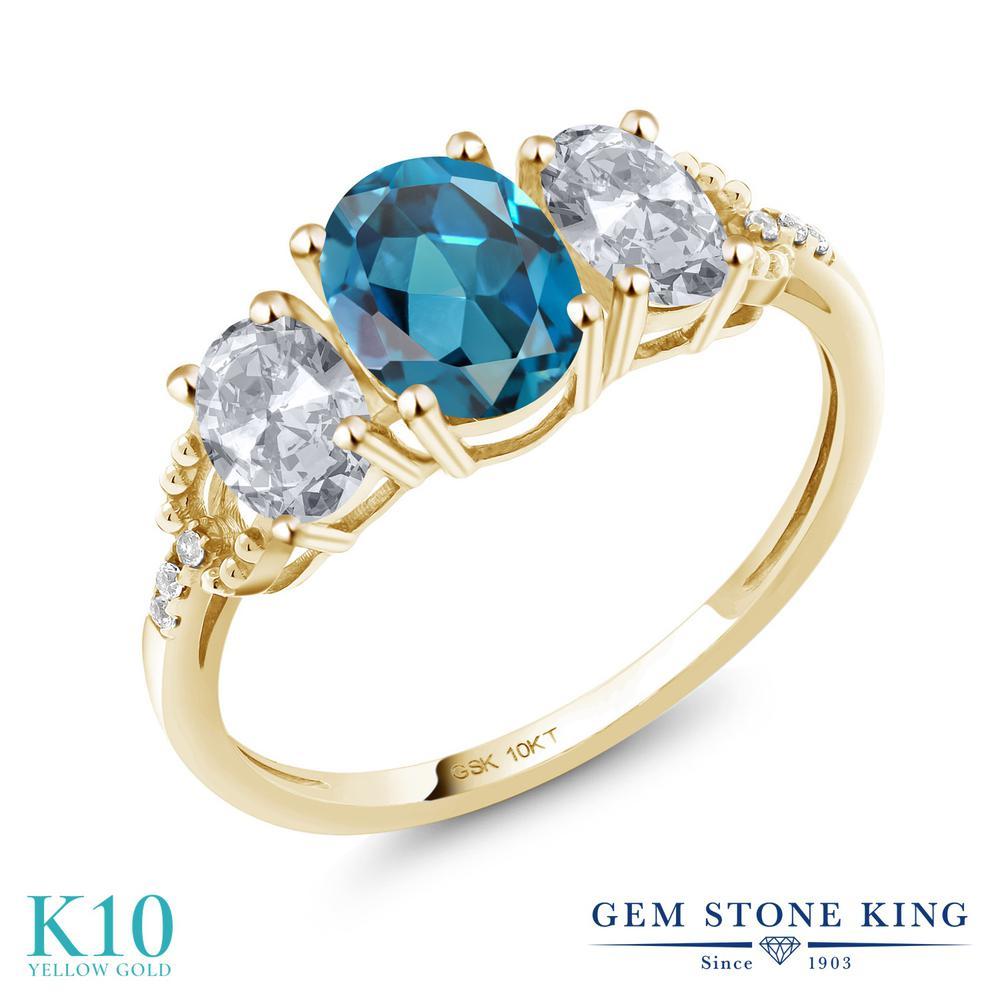 2.22カラット 天然 ロンドンブルートパーズ 指輪 レディース リング トパーズ ダイヤモンド 10金 イエローゴールド K10 ブランド おしゃれ 3連 大粒 スリーストーン 天然石 11月 誕生石 婚約指輪 エンゲージリング