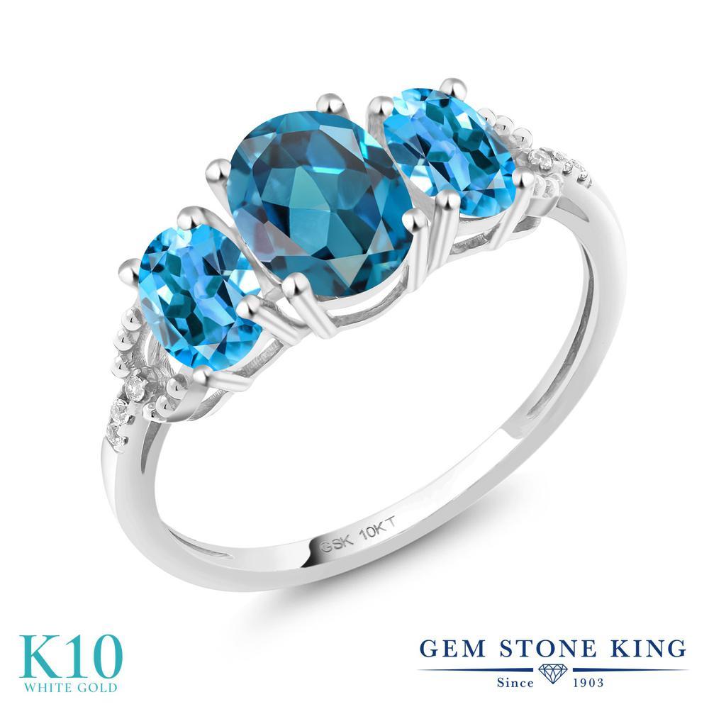2.12カラット 天然 ロンドンブルートパーズ 指輪 レディース リング スイスブルートパーズ ダイヤモンド 10金 ホワイトゴールド K10 ブランド おしゃれ 3連 大粒 スリーストーン 天然石 11月 誕生石 婚約指輪 エンゲージリング