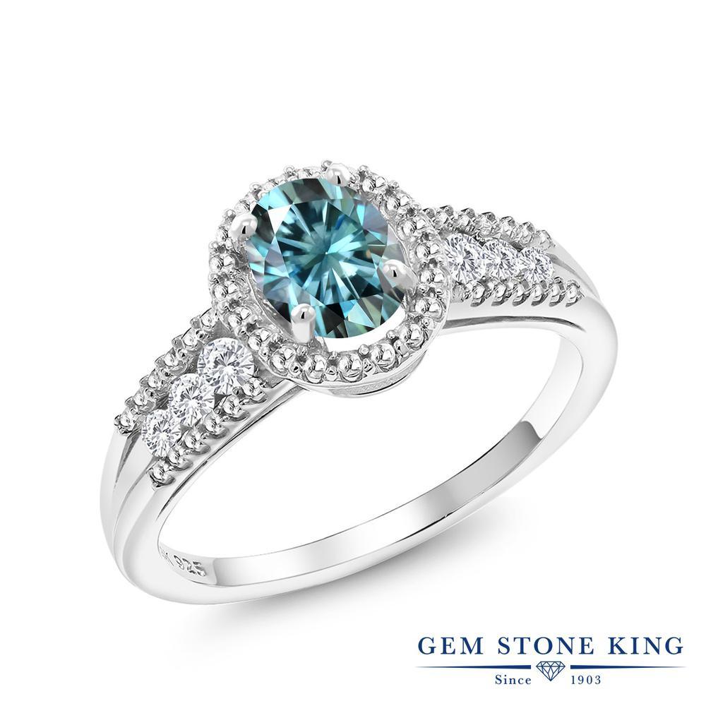 Gem Stone King 1.14カラット ブルー モアサナイト Charles & Colvard 合成ホワイトサファイア (ダイヤのような無色透明) 指輪 リング レディース シルバー925 モアッサナイト ヘイロー 金属アレルギー対応