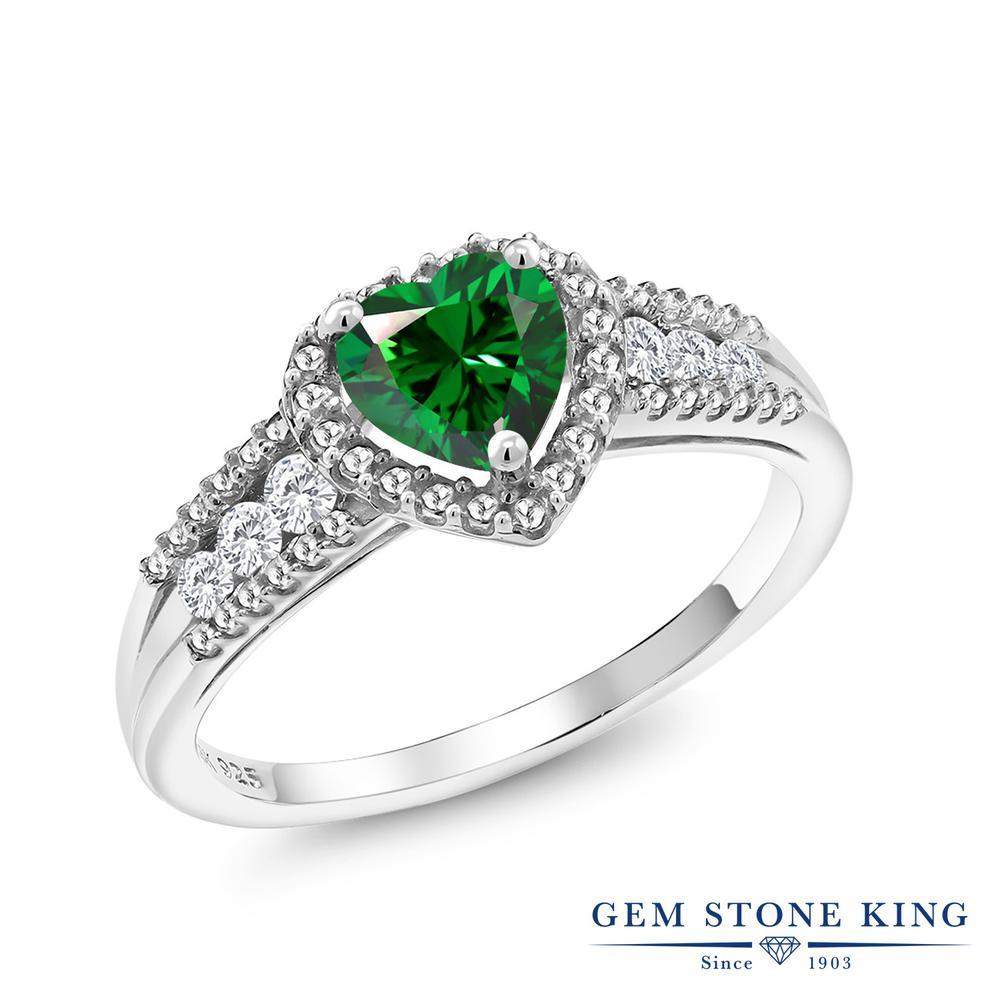 0.98カラット スワロフスキージルコニア (グリーン) 指輪 レディース リング 合成ホワイトサファイア シルバー925 ブランド おしゃれ ハート 一粒 CZ 緑 金属アレルギー対応