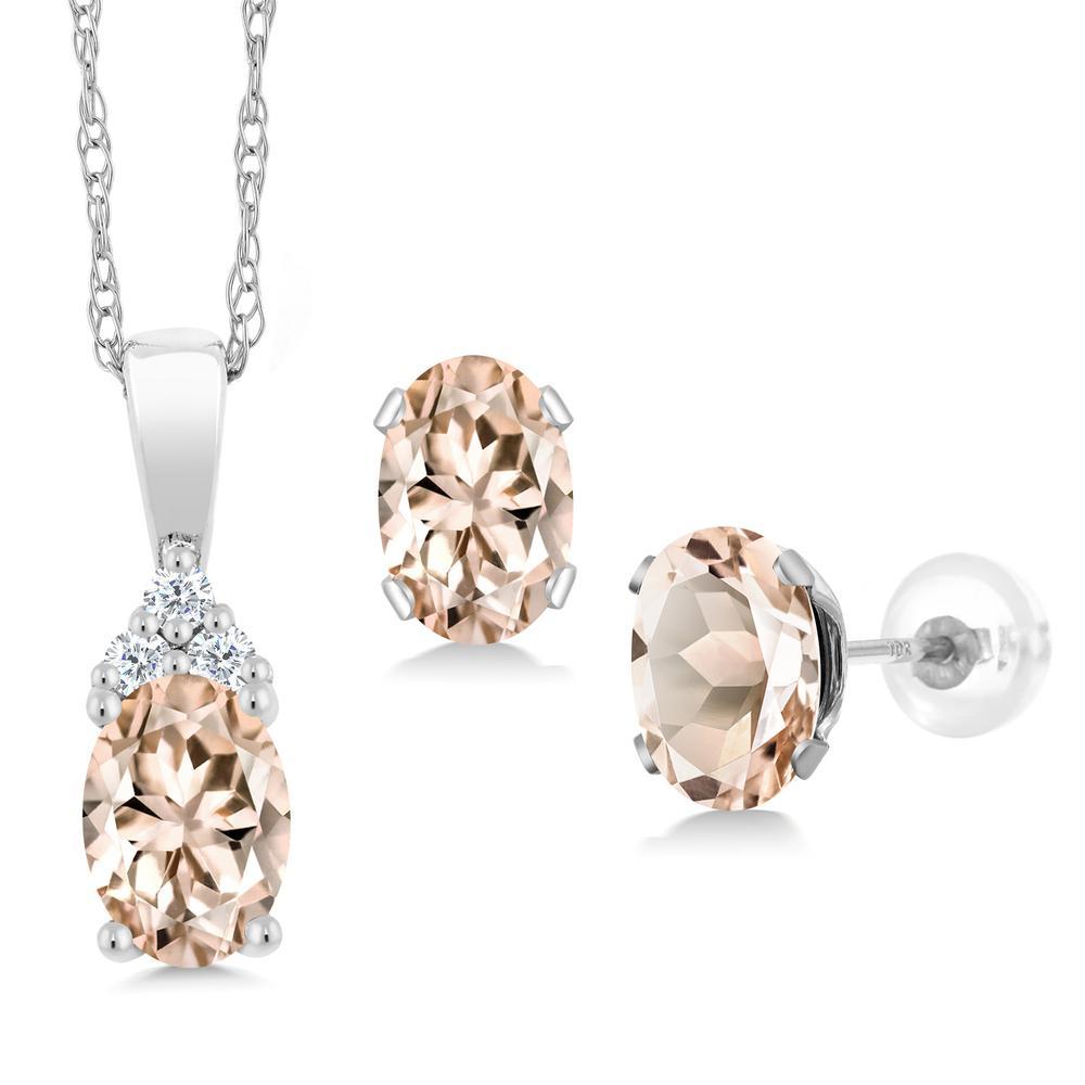 Gem Stone King 1.52カラット 天然 モルガナイト (ピーチ) 天然 ダイヤモンド 10金 ホワイトゴールド(K10) ペンダント&ピアスセット レディース 小粒 天然石 3月 誕生石 金属アレルギー対応 誕生日プレゼント