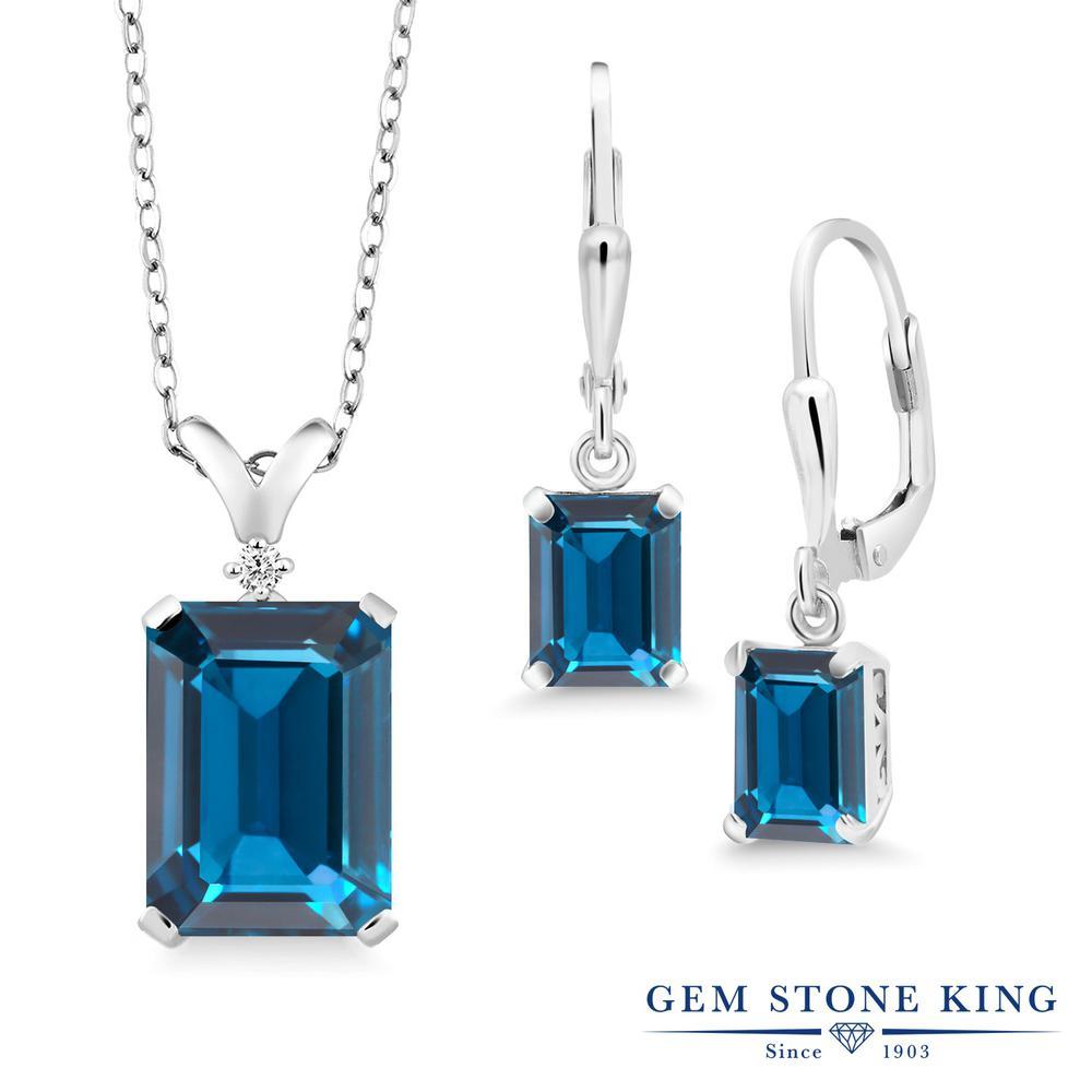 Gem Stone King 13.49カラット 天然 ロンドンブルートパーズ 天然 ダイヤモンド シルバー925 ペンダント&ピアスセット レディース 大粒 レバーバック 天然石 11月 誕生石 金属アレルギー対応 誕生日プレゼント