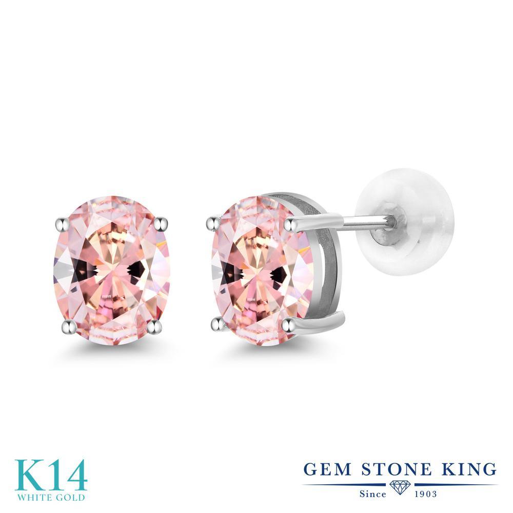 Gem Stone King スワロフスキージルコニア (モルガナイトピーチ) 14金 ホワイトゴールド(K14) ピアス レディース CZ 大粒 シンプル スタッド 金属アレルギー対応 誕生日プレゼント