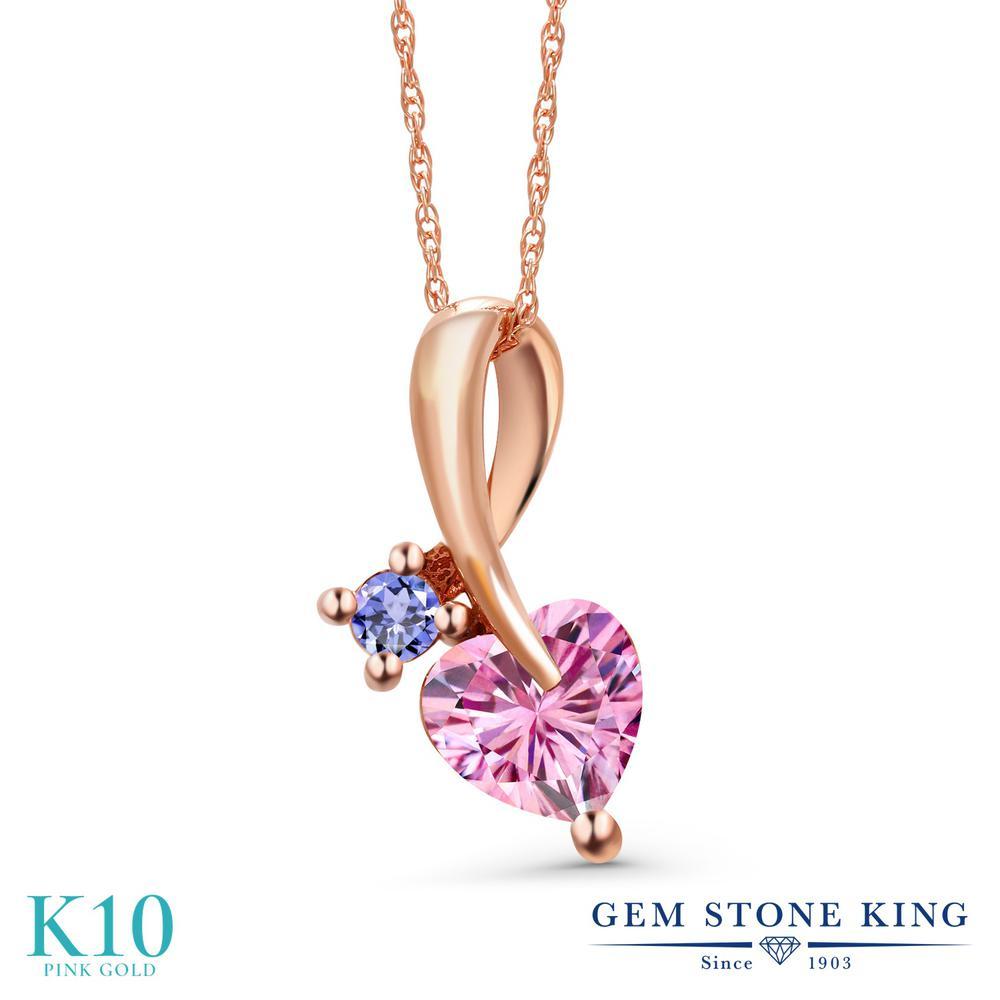 Gem Stone King 0.95カラット ピンク モアサナイト Charles & Colvard 天然石 タンザナイト 10金 ピンクゴールド(K10) ネックレス ペンダント レディース モアッサナイト シンプル 金属アレルギー対応 誕生日プレゼント
