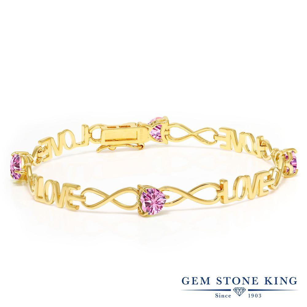 Gem Stone King 3.2カラット ピンク モアサナイト Charles & Colvard シルバー925 イエローゴールドコーティング ブレスレット レディース モアッサナイト 金属アレルギー対応 誕生日プレゼント