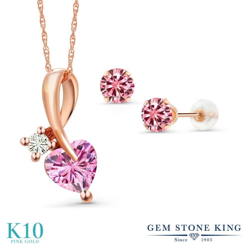 Gem Stone King 1.9カラット ピンク モアッサナイト Charles & Colvard 10金 ピンクゴールド(K10) ペンダント&ピアスセット レディース モアサナイト 金属アレルギー対応 誕生日プレゼント