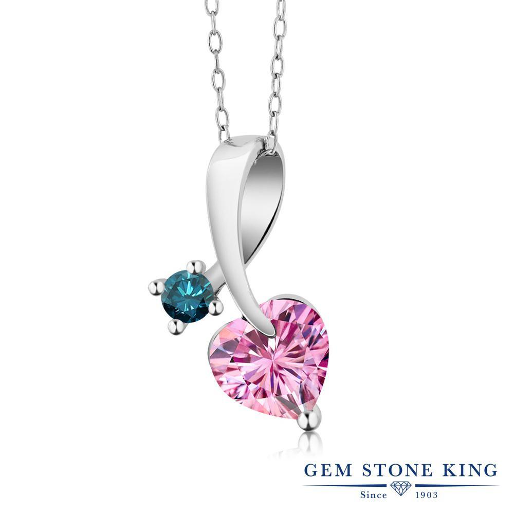 Gem Stone King 1カラット ピンク モアサナイト Charles & Colvard 天然 ブルーダイヤモンド シルバー925 ネックレス ペンダント レディース モアッサナイト シンプル 金属アレルギー対応 誕生日プレゼント
