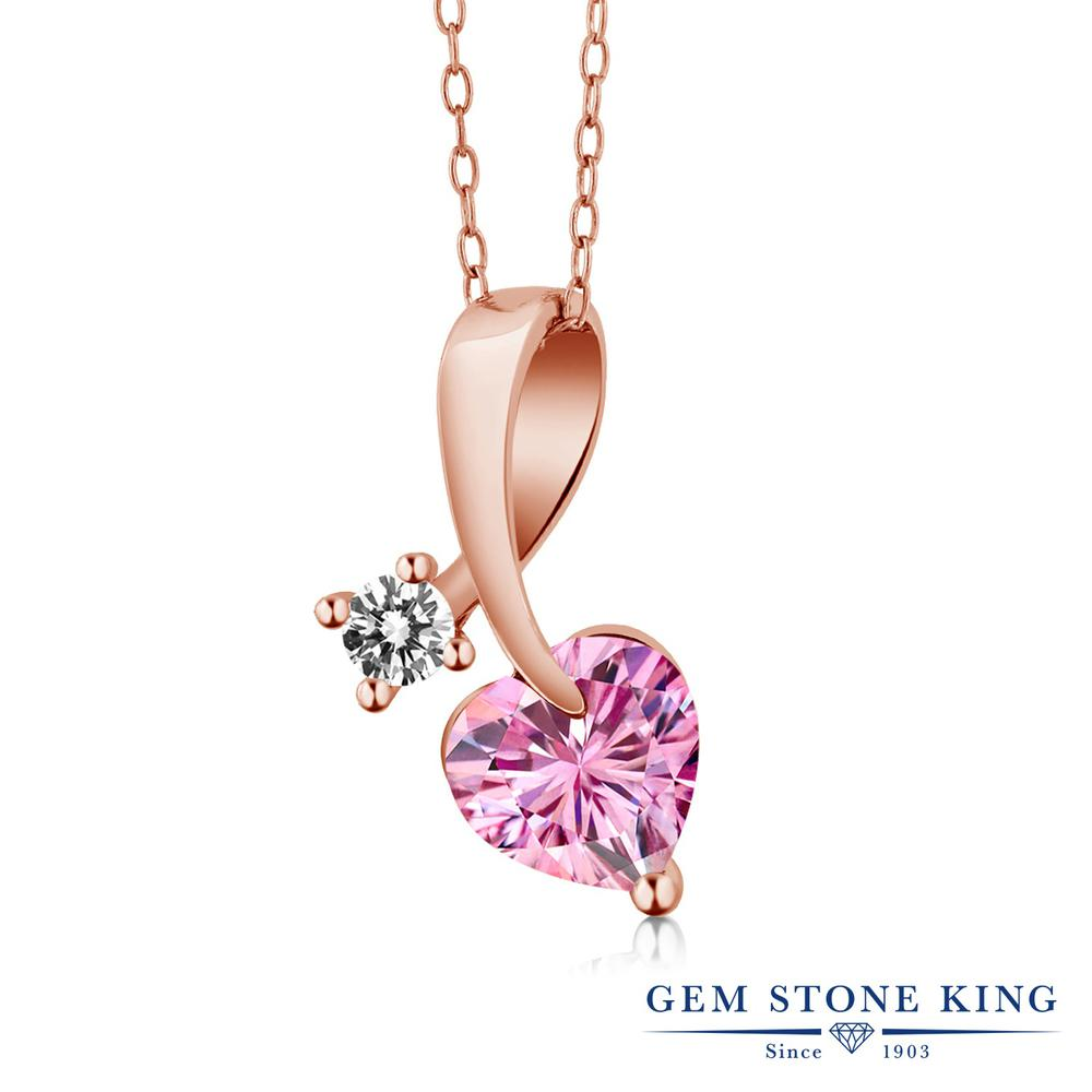 Gem Stone King 1カラット ピンク モアサナイト Charles & Colvard 天然 ダイヤモンド シルバー925 ピンクゴールドコーティング ネックレス ペンダント レディース モアッサナイト シンプル 金属アレルギー対応 誕生日プレゼント