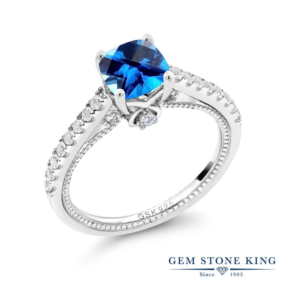 1.27カラット 天然石 カシミアブルートパーズ (スワロフスキー 天然石) 合成ホワイトサファイア (ダイヤのような無色透明) 指輪 リング レディース シルバー925 大粒 マルチストーン 金属アレルギー対応