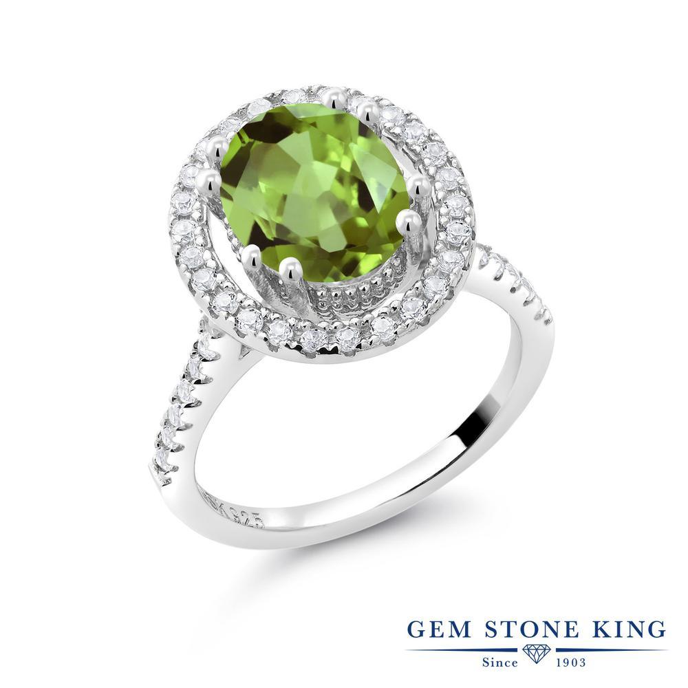 Gem Stone King 3.5カラット 天然石 ペリドット 合成ホワイトサファイア (ダイヤのような無色透明) シルバー925 指輪 リング レディース 大粒 大ぶり マルチストーン 天然石 8月 誕生石 金属アレルギー対応 誕生日プレゼント