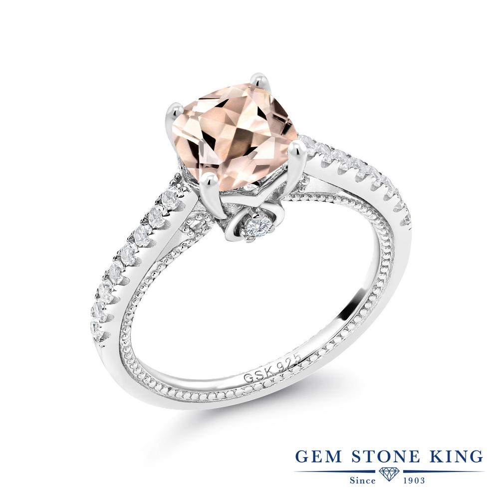 Gem Stone King 1.6カラット 天然 モルガナイト (ピーチ) 合成ホワイトサファイア (ダイヤのような無色透明) シルバー925 指輪 リング レディース 大粒 マルチストーン 天然石 3月 誕生石 金属アレルギー対応 誕生日プレゼント