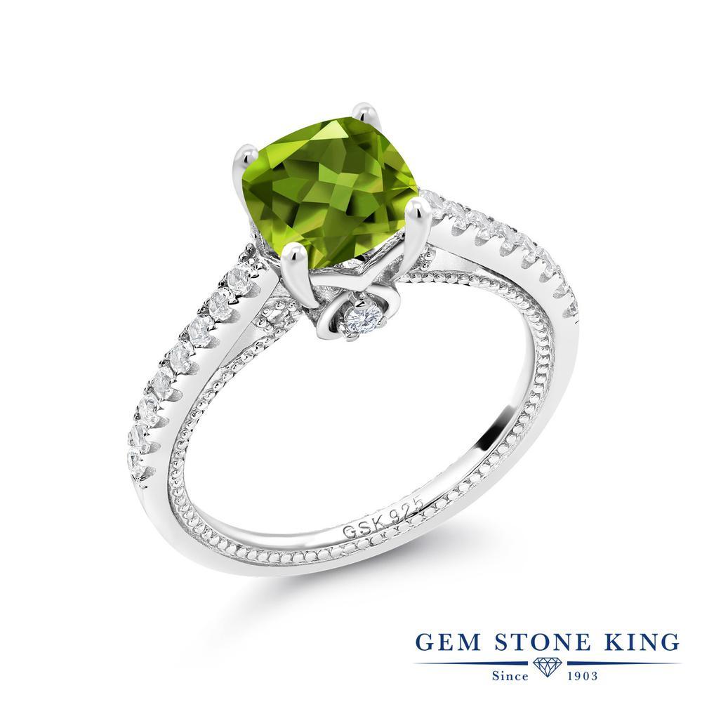 Gem Stone King 2カラット 天然石 ペリドット 合成ホワイトサファイア (ダイヤのような無色透明) 指輪 リング レディース シルバー925 大粒 マルチストーン 8月 誕生石 金属アレルギー対応