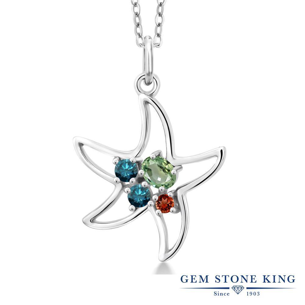 Gem Stone King 0.4カラット 天然 グリーンサファイア 天然 ブルーダイヤモンド シルバー925 ネックレス レディース 小粒 天然石 9月 誕生石 金属アレルギー対応 誕生日プレゼント