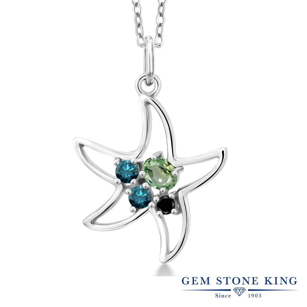Gem Stone King 0.38カラット 天然 グリーンサファイア 天然 ブルーダイヤモンド シルバー925 ネックレス レディース 小粒 天然石 9月 誕生石 金属アレルギー対応 誕生日プレゼント