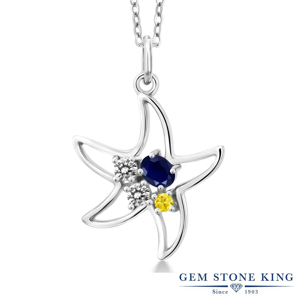 Gem Stone King 0.40 Ct Oval Blue Tanzanite White Topaz 925 Sterling Silver Starfish Necklace